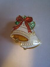 Small Gold Tone & Multi-Colored Enamel Christmas Bells Pin, Brooch, 1""
