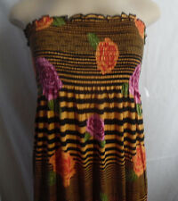 GOLD BLACK ROSES PINK LILAC etc ELASTIC TOP LONG STRAPLESS DRESS RAYON 2X