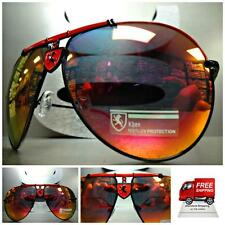 Mens Women CLASSIC VINTAGE AVIATOR Style SUN GLASSES Black Red Frame Mirror Lens