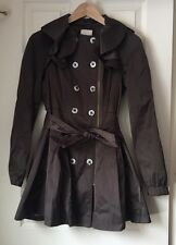 Anthropologie Elevenses Olive Ruffle Double Breasted Trench Coat Sz 0