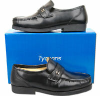 Mens New Black Leather Slip On Moccasin Wide Fit Shoes Size 6 7 8 9 10 11 12