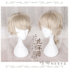 Wig Men's Short Harajuku Woman Sweet Lolita Cosplay Golden Gradient Unisex Curly