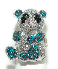 CRYSTAL BLUE & BLACK PANDA STRETCH RING (R015)
