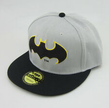 New Fashion batman hiphop Cosplay Snapback Adjustable baseball cap flat hat Gray