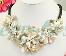 BEAUTIFUL! WHITE PEARL NECKLACE SHELL FLOWER #3806