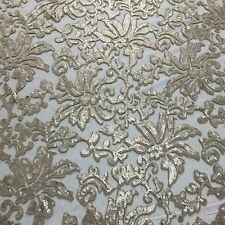 """Beyonce Floral Apparel Sequence Lace Fabric - Stone Beige - By The Yard - 56"""""""