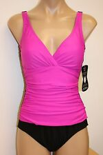 NWT Beach Diva Swimsuit One 1pc Piece size 16 Black Pink