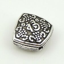 S925 Sterling Silver 12X13mm Vintage Chinese Carved Lucky Flat Bead Charm WSP165