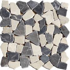 Bruchmosaik Graubraun Beige Marmor Granit Naturstein Fliesen Glasmosaik Wand
