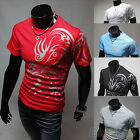 Casual Men Chic Tattoos Printed Short Sleeve Crew Neck Tee T-Shirt Slim Fit Tops