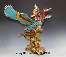 Chinese Bronze Cloisonne Taoist NanJiXianWeng immortal ride Crane statue