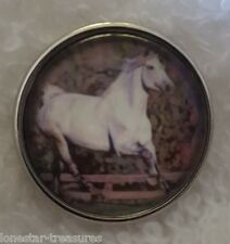 White Horse Running in The Pasture Ranch Equine Snap Charm Chunk Button