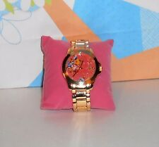Icing Pink Floral Face Quartz Wristwatch with Stainless Steel Goldtone Band NEW