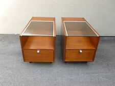 PAIR EARLY HERMAN MILLER GEORGE NELSON GLASS TOP END TABLES RESTORED