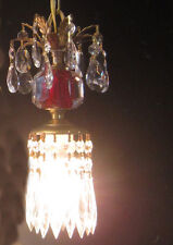 Vintage cranberry ruby Pressed glass pendant Brass SWAG hanging lamp chandelier