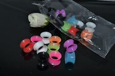 LOT120pcs Flesh tunnel silicone double flare ear plug gauge stretcher 3mm-10mm