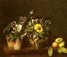Stunning Oil painting Henri Fantin Latour - Still Life With Pansies