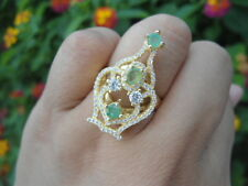 Natural EMERALD & White Cubic Zirconia  925 STERLING SILVER SeXy RING Size 7.75
