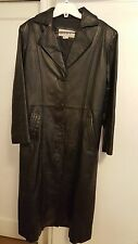 COMINT - Women's Long Leather Jacket Coat - Pre-owned - Size Small