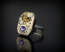 Steampunk beautiful watch movement Ring with purple  swarovski elements