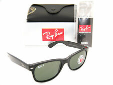 Ray-Ban New Wayfarer Black Frame / Green Polarized RB 2132 901/58 55MM Medium