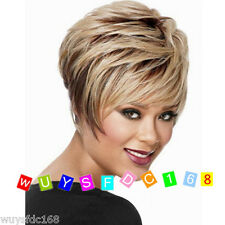 Women ladies Short Blonde mix Brown Straight Synthetic Cosplay Wigs/Wig Cap