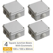 4 Square Electrical Junction Box & Grommets IP55 Outdoor Weatherproof 100 x 80mm