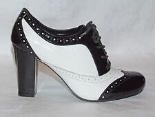 ALDO Black & White Leather Oxford Wingtip Shoes with Chunky Heel Size 36 / 6