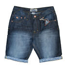 MENS SHORTS DENIM THREADBARE CARGO COMBAT JEANS FADED CONTRAST TURN UP SUMMER