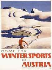 ART PRINT TRAVEL TOURISM WINTER SPORT AUSTRIA ALPINE SKI CHALET SNOW NOFL1270