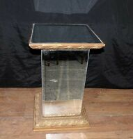 Art Deco Mirrored Side Table Pedestal Stand