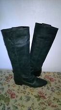 Dark Green Leather Flat Boots Size 5