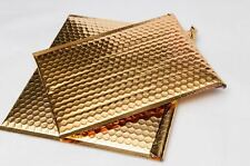 "Metallic Glamour Bubble Mailers Padded Envelope Bags 9"" x 11.5"" 100 /Cs Gold"