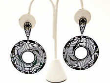 WOMEN'S FASHION JEWELRY STAINLESS STEEL DANGLE POST EARRINGS BLACK FINISH