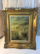 Antique Oil On Board Seascape Dutch Old Master In Original Ornate Gesso Frame