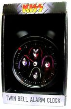 81217 KISS BAND FACES TWIN BELL ALARM CLOCK BLACK STANDING RINGING ALARM COLLECT