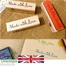 Made With Love Wooden Rubber Stamp Craft Scrapbooking Handmade Tags Gifts UK