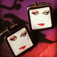 Unique! ATHENA POSTER CUFFLINKS airbrushed 80's LOST LOVE face RETRO vintage