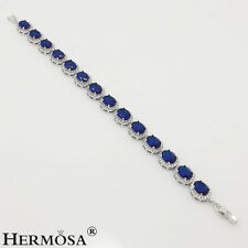 75% OFF AAA Topaz Hermosa 925 Sterling Silver Blue Sapphire Hot Gems Bracelet 7'