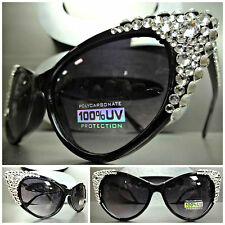 CLASSIC VINTAGE 60s CAT EYE Style BLING Black SUNGLASSES Clear Crystals Handmade