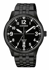 NEW CITIZEN MENS BLACK STAINLESS STEEL QUARTZ DATE WATCH BI1055-52E