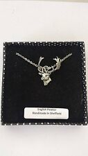 A63 Fallow Deer Head english pewter 3D Platinum Necklace Handmade 18 INCH