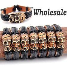 Lot 6 pcs Tribal yak bone skull pendant leather bracelet S-10