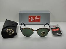 RAY-BAN CLUBROUND SUNGLASSES RB4246 1157 TORTOISE & BLACK/GREEN LENS 51MM NEW!