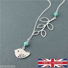 Minimalistic Bird Necklace Turquoise Bead & Silver Colour Cute FREE UK DELIVERY