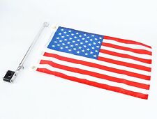 "Boat  flag pole with 12""X18"" US flag , 304 Stainless Rail Mount 7/8"" to 1- 1/4"""