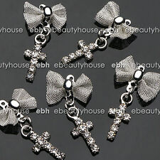 5 Pcs 3D Nail Art Silver Alloy Bow & Cross Charms Decorations Jewelry Rhinestone
