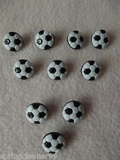 10 x BLACK & WHITE NOVELTY FOOTBALL SHAPED BUTTONS size 24L (15mm)