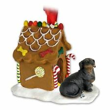 DACHSHUND Black Tan Dog Gingerbread Ginger Bread House Christmas ORNAMENT