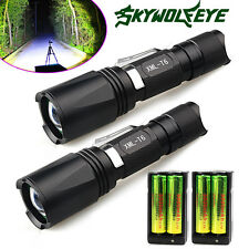 2 Sets 10000 Lumens 5 Modes CREE XM-L T6 Tactical LED Flashlight 18650 & Charger